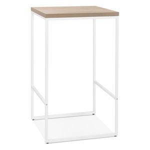 Přírodní barový stůl s bílými nohami KokoonTikafe, výška 105cm
