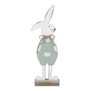 Bílá dekorace na podstavci králík v zelených kalhotách Ego Dekor, 25,5 x 9 x 4 cm