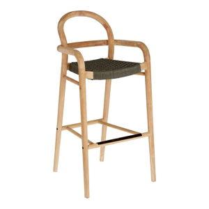 Zahradní barová židle z eukalyptového dřeva se zeleným výpletem La Forma Sheryl, výška 79 cm