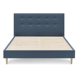 Modrá dvoulůžková postel Bobochic Paris Rory Light. 160 x 200 cm