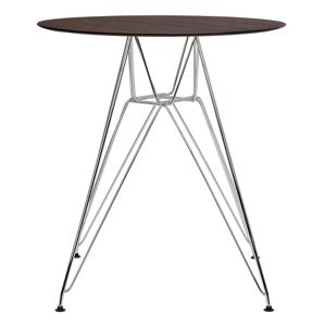 Stůl DSR průměr 60 ořech - deska HPL STRATIFICATO, kovová chromovaná základna