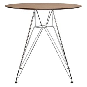 Stůl DSR průměr 70 dubový - deska HPL STRATIFICATO, kovová chromovaná základna