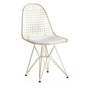 Židle DSR NET GOLD zlatá kovová - bílý polštář, kov