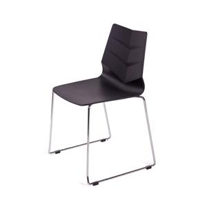 Židle SHARK černá, skluznice - polypropylén, kovová základna chrom