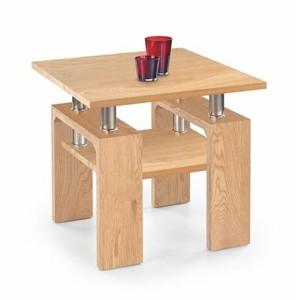 DIANA H MDF ČTVERCOVÝ stolek deska a police - zlatý dub, nohy - zlatý dub
