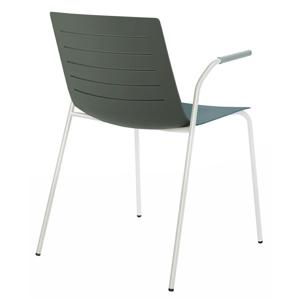 Židle Skinny 4 šedá podstava bílá s područkami