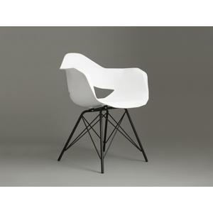 Židle MATCH ARMS METAL BLACK - bílá