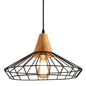 Lampa závěsná Scandi kov dřevo E27 LED