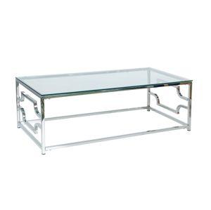 Stolek VERSACE A transparentní/stříbrný 120x60