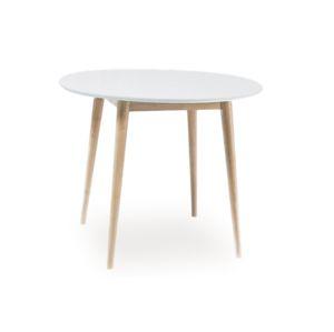 Stůl LARSON bílý/dub bělený 100x100