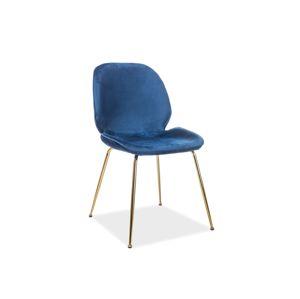 Židle ADRIEN Velvet zlatá kostra / tmavě modré polstrování č.91