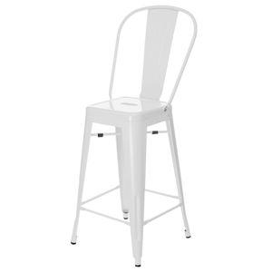 Barová židle PARIS BACK bílá inspirovaná Tolix