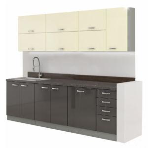 Kuchyňská linka, šedá / krémová, extra vysoký lesk, PRADO
