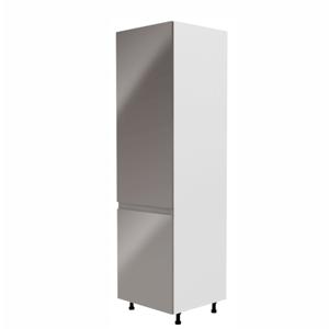 Skříňka na lednici, bílá / šedá extra vysoký lesk, levá, AURORA D60ZL