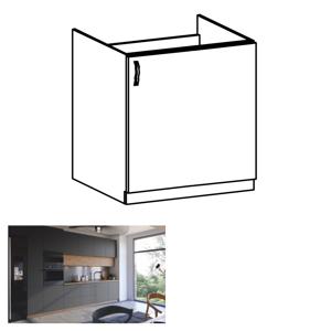 Dřezová skříňka, dub artisan/šedý mat, pravá, LANGEN D60Z