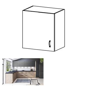 Horní skříňka, dub artisan/šedý mat, levá, LANGEN G60G