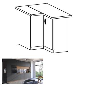 Rohová spodní skříňka, dub artisan/šedý mat, LANGEN D90N