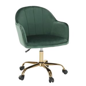 Kancelářské křeslo, zelená Velvet látka/zlatá, EROL