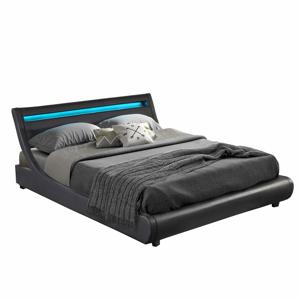 Manželská postel s RGB LED osvětlením, černá, 160x200, FELINA