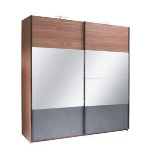 Skříň s posuvnými dveřmi, ořech / grafit, 250x219, Rekato