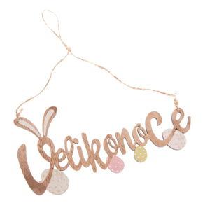 Dřevěný dekorativní závěsný nápis Dakls Velikonoce