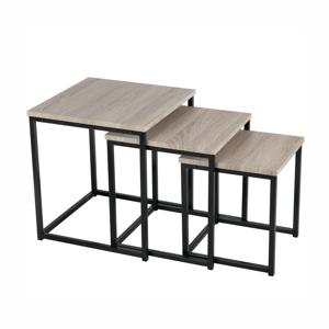 Set 3 konferenčních stolků, dub sonoma / černá, KASTLER TYP 3