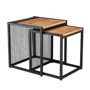Set dvou konferenčních stolků, dub/černý, RIMBO