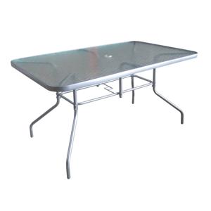 Jídelní stůl, tvrzené sklo / stříbrná, Demat NEW