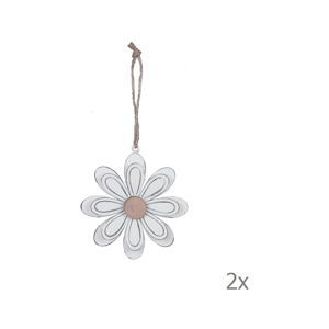 Sada 2 kovových závěsných dekorací ve tvaru květiny EgoDekor, ø9,5cm