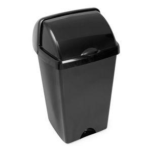 Černý odpadkový koš se zasouvacím víkem Addis, 38 x 34 x 68 cm
