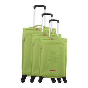 Sada 3 zelených zavazadel na 4 kolečkách Lulucastagnette Emilia