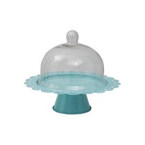 Modrý servírovací stojan na dort se skleněným poklopem Mauro Ferretti, ø 34 cm