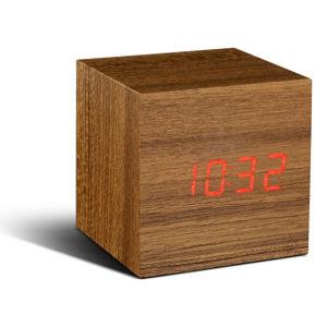 Světle hnědý budík s červeným LED displejem Gingko Cube Click Clock