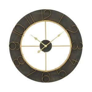 Černé nástěnné hodiny s detaily ve zlaté barvě Mauro Ferretti Norah, ⌀ 70 cm