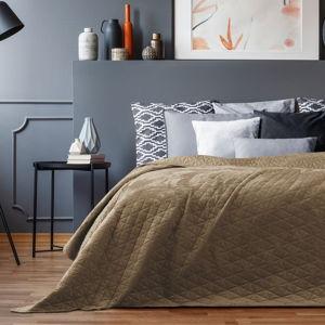 Béžový sametový přehoz přes postel AmeliaHome Laila Cappuccino, 220x240cm