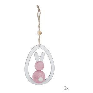 Sada 2 bílo-růžových dřevěných závěsných velikonočních dekorací Ego Dekor Bunny