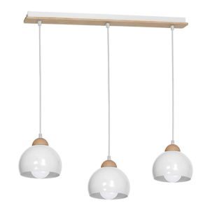 Bílé závěsné svítidlo s dřevěnými detaily Dama Tres