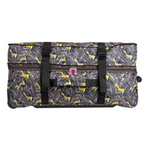 Zeleno-žlutá cestovní taška na kolečkách Lulucastagnette Jungle, 91l