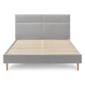 Šedá dvoulůžková postel Bobochic Paris Elyna Light, 160 x 200 cm