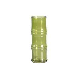 Zelená skleněná váza WOOOD Kane,výška25cm
