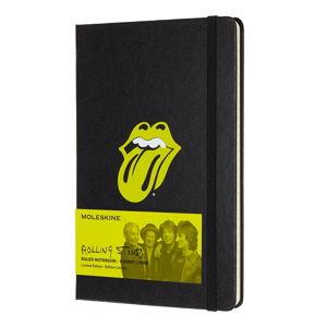 Černý linkovaný zápisník v pevné vazbě Moleskine Rolling Stones, 240stran