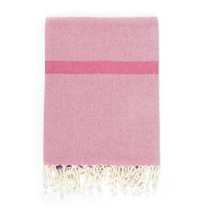 Růžovo-béžová osuška s příměsí bavlny Kate Louise Cotton Collection Line Pink Beige, 100 x 180 cm