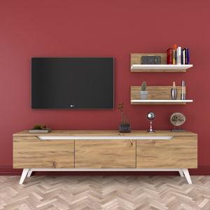 Set TV stolku a 2 nástěnných polic v dřevěném dekoru Rani