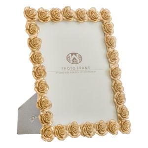 Fotorámeček ve zlaté barvě s motivem růží MauroFerretti, 25,5x31cm