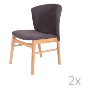 Sada 2 tmavě šedých jídelních židlí se světle hnědým podnožím z kaučukovníkového dřeva sømcasa Mara
