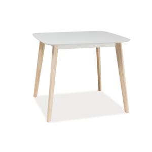 Stůl TIBI bílý/dub bělený 90x80