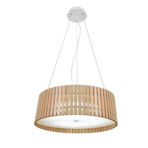 Lustr - lampa závěsná SERCHIO 49 dřevo/syntetická látka