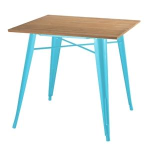 Stůl TOWER WOOD modrý deska jasan/kov