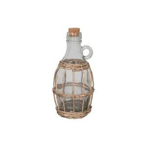 Skleněná lahev v proutěném košíku Antic Line Avec, výška 22 cm