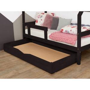 Černý dřevěný šuplík pod postel s roštem a plným BenlemiBuddy, 120x180cm